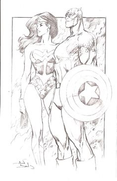 Wonder Woman and Captain America by Alan Davis