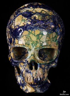 Skullis.com A Crystal Skull a Day: July 30 - The Guide Azurie and Malachite Carved Crystal Skull Sculpture