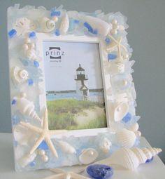 Beach Glass Decor Seashell Frame   Sea Glass by beachgrasscottage, $79.00