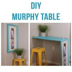 A diy murphy table that turns into wall art! perfect solution for a small space or studio apartment. Table Murphy, Murphy Desk, Outdoor Dining Furniture, Diy Furniture, Furniture Design, Mur Diy, Kombi Home, Barn Wood Crafts, Rustic Wall Mirrors