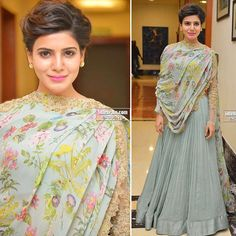 Samantha looking beautiful in a @ridhimehraofficial & @amrapalijewels for the press meet of Policeodu .. My papaaa