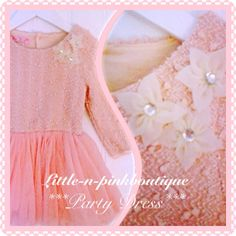 Pink corsage princess twirling party dress at www.littleandpinkboutique.co.uk Boutique Party Dresses, Girls Dresses, Flower Girl Dresses, Corsage, Sequins, Princess, Wedding Dresses, Pink, Fashion