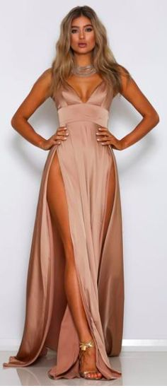 Show And Tell Blush Pink Sleeveless Spaghetti Strap Plunge V Neck Empire Waist Double Slit Maxi Dress High Slit Dress, Maxi Dress With Slit, Bodycon Dress, Double Slit Dress, Satin Dresses, Sexy Dresses, Prom Dresses, Formal Dresses, Satin Gown