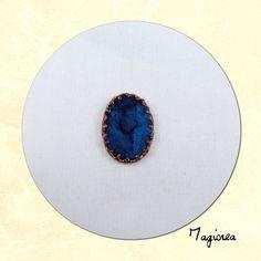 cabochon de soie ovale bleu nuit 2.5 cm C032