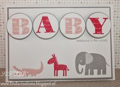 LizDesign Stampin' Up! Morning Post Alphabet Zoo Babies Baby Card
