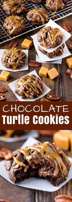 These Chocolate Turtle Cookies are ultra decadent, soft, and delicious. Any chocolate lover will go crazy for this delicious cookie recipe! The chocolate cookie base in this recipe is an incredible mix between a brownie and a cookie. It's decadently divine if I do say so myself.