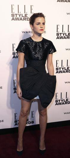 Emma Watson Emma Watson 2014, Elle Style Awards, Peplum Dress, Black, Dresses, Girls, Fashion, Vestidos, Toddler Girls