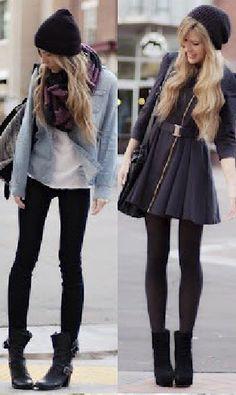 black skirt + denim + beanie love