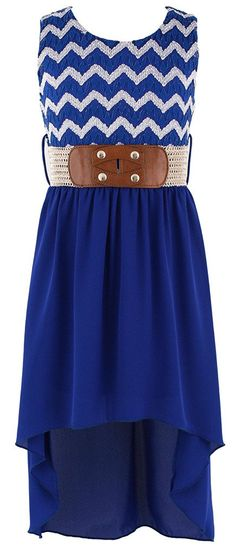 Wonder Girl Big Girl's Lace & Lurex Hi-Low Dress | WOMAN SHOP