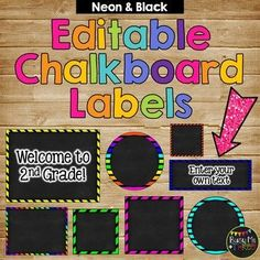 Who doesn't love being organized? This is a great set of neon and chalkboard labels that are EDITABLE! There are 135 different labels to choose from! All label cards are editable and allow you to enter your own text and clipart to customize your Neon Classroom Decor, Preschool Classroom Decor, Chalkboard Classroom, Chalkboard Labels, Classroom Organization, Preschool Activities, Classroom Management, Classroom Ideas, Class Decoration