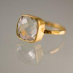 10% Off - Green Amethyst Ring - Gemstone Ring - Gold Ring - Bezel Ring - Stackable Ring. $62.00, via Etsy.