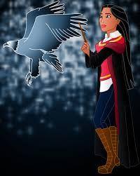 Disney Hogwarts students: Pocahontas by on deviantART Disney Hogwarts, Harry Potter Disney, Disney Nerd, Disney Fanatic, Disney Fan Art, Cute Disney, Disney Girls, Disney Stuff, Disney And Dreamworks