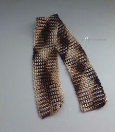 Unisex Scarf Black Brown Tan Crochet 36 x 4 by DebbieCrochets on Etsy