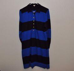 J crew Rugby polo shirt dress blue striped L Fall gold button knit EUC #JCrew #ShirtDress #Casual