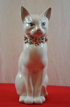 White Cat Italy Numbered Figurine Porcelain Statue Floral Collar Casa Pupo #1466  Цена товара	3232 руб.	  Цена доставки	3062 руб.