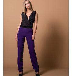 Παντελόνι Ψηλομεσο Στενό - Βιολετί Jumpsuit, Suits, Purple, Black, Dresses, Fashion, Overalls, Vestidos, Moda