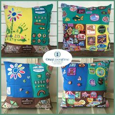 Girl Scout Pillow – Once Upon a Time Creation Girl Scout Pillow by Once Upon a Time Creation Girl Scout Vest, Girl Scout Uniform, Girl Scout Patches, Girl Scout Badges, Girl Scout Swap, Girl Scout Leader, Brownie Girl Scouts, Girl Scout Troop, Scout Mom