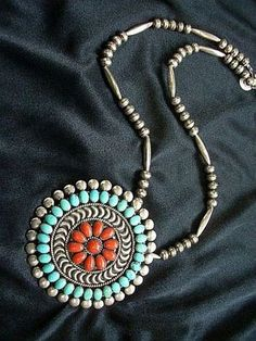 Vintage Zuni Lee & Mary Weebothee Turquoise Coral Pendant Necklace c1970s/80s