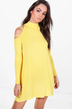 boohoo Rosamary Strappy Shoulder Swing Dress