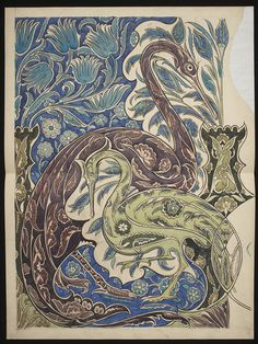Design, probably for a tile panel, Persian foliage and birds pattern.        Object:        Drawing      Place of origin:        England, Great Britain (made)      Date:        1839-1917 (made)      Artist/Maker:        De Morgan, William Frend, born 1839 - died 1917 (artist)