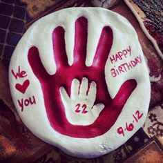 Salt dough recipe. I did my hand print then put my daughters inside. Happy birthday to the hubby