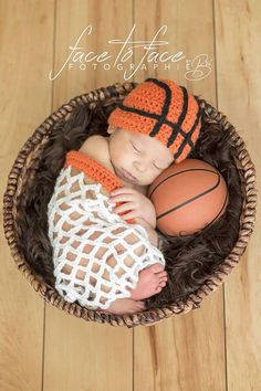 Newborn Baby Basketball Sport Hat and Net Set by MagooandBaloo, $30.00