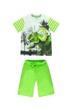 #pyjamagarçon manches courtes coloris vert avec print #dinosaure - www.shop-orchestra.com
