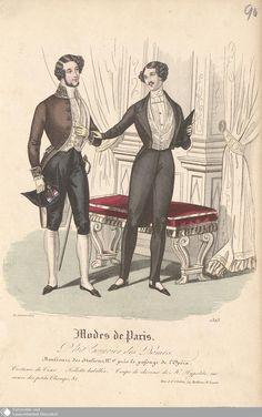 """1837, Herrenmode für die Oper, links stark vom 18. Jahrhundert beeinflusst mit Frack in Justaucorps-Manier mit Kniebundhosen und Zweispitz, rechts schwarzer Frack mit langer Steghose, aus dem """"Petit courrier des dames"""""""