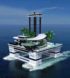 Kokomo Island by Migaloo Private Submersible Yachts is a portable island that can be moved to any desired location. Floating Architecture, Futuristic Architecture, Amazing Architecture, Architecture Design, Floating Island, Floating House, Kokomo Island, Portable Island, Monaco Yacht Show
