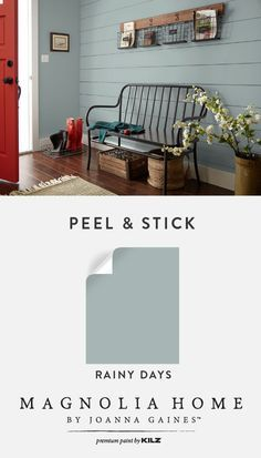 This entryway pairs a shiplap wall with Rainy Days from the Magnolia Home by Joanna Gaines™ Paint collection to create a chic farmhouse style. Try using Peel & Stick Color Samples for an easy, mess-free way to test out new paint colors in your own DIY hom Farmhouse Paint Colors, Paint Colors For Home, Country Paint Colors, Indoor Paint Colors, Paint For A Dark Room, Hgtv Paint Colors, Best Blue Paint Colors, Entryway Paint Colors, Best Bedroom Paint Colors