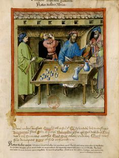 Marchand de vin rouge, illustration extraite du Tacuinum sanitatis (Tableau de santé)...