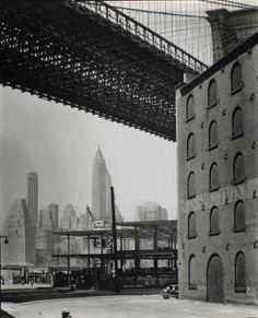 """Brooklyn Bridge, Water and Dock Streets, looking southwest, Brooklyn,"" (May 22, 1936) by Berenice Abbott"