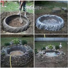 ~tire pond~ old recycled reused repurposed tire large big plastic stones rocks plants decoration water pond fish turtles garden calm pretty landscaping Garden Crafts, Garden Projects, Garden Art, Tire Garden, Wood Projects, Ponds Backyard, Backyard Patio, Garden Ponds, Backyard Stream