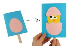DIY Easter: the chick comes out of his egg! A fun activity to f . - DIY Easter: the chick comes out of his egg! A fun activity to f . Easter Arts And Crafts, Spring Crafts, Diy Ostern, Useful Origami, Fun Origami, Diy For Kids, Activities For Kids, Cards, Doodle Canvas