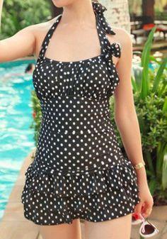 Backless Polka Dot Flounce One-Piece Swimsuit ==