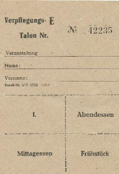 """DDR Museum - Museum: Objektdatenbank - """"Verpflegungs-Talon"""" Copyright: DDR Museum, Berlin. Eine kommerzielle Nutzung des Bildes ist nicht erlaubt, but feel free to repin it!"""