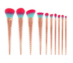 GWA Rainbow Collection Makeup Brushes. Cruelty free, vegan and super soft this brush set has 10 different brushes for flawless application for face and eyes. Bold and beautiful brush sets by #GWALondon