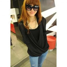 Street Style Loose Fit Pockets Design Solid Color Chiffon Shirt For Women