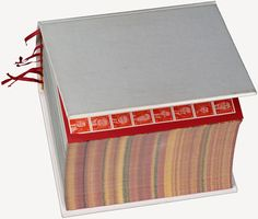 Irma Boom (1960-), Dutch graphic artist & bookmaker / SHV Think Book, 1996, 2,136-page book centennial project printed for shareholders of SHV, multinational and private trading company, weighs over eight pounds. 4,500 copies (4,000 English & 500 Chinese), 1996, part of MoMA permanent collection