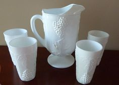 Vintage Milk Glass Pitcher with Four Glasses by ThingsofOld, $29.50