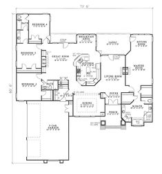 4 bed 3 bath open concept ranch 2951 sq ft - Open Concept House Plans