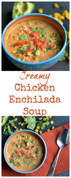 Comforting, flavorful, easy, healthy, and delicious enchilada soup! Mexican Food Recipes, Beef Recipes, Soup Recipes, Healthy Recipes, Cookbook Recipes, Creamy Chicken Enchiladas, Chicken Enchilada Soup, Fancy Dinner Recipes, Vegetarian Soup