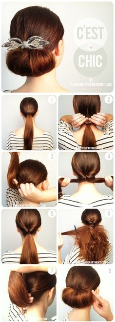 IF you don't understand steps 2-4 what you do is part the pony tail and bull the hair up and then down through the part...very simple and even easier if you use a topsy tail