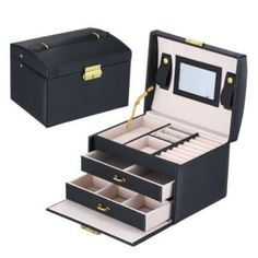 Jewelry Box With Lock, Large Jewelry Box, Leather Jewelry Box, Layered Jewelry, Jewelry Case, Jewelry Holder, Jewellery Boxes, Jewellery Storage, Jewellery Display