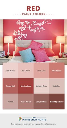 Red Paint In Bedroom Lovely Red Paint Color Inspiration From Ppg Pittsburgh Paints Red Paint Colors, Bedroom Paint Colors, Bedroom Color Schemes, Paint Colors For Home, Wall Colors, House Colors, Colours, Bedroom Red, Bedroom Decor