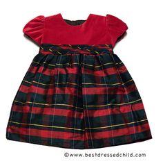 Luli & Me Baby / Toddler Girls Red Christmas Plaid Silk / Velvet Dress