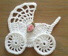 Crochet Baby Carriage/ Buggy/Stroller/Pram Applique Novelty / Perfect for Bomboniere, Baby Shower, Decoration, Scrap Yarn Crochet, Crochet Baby Bibs, Booties Crochet, Baby Blanket Crochet, Crochet Crafts, Crochet Projects, Crochet Applique Patterns Free, Baby Knitting Patterns, Crochet Motif