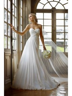 A Line Sweetheart Applique Lace Up Chiffon Wedding Dress In Canada Wedding Dress Prices