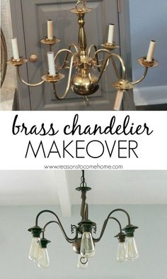 DIY Chandelier Makeover. From dated brass to farmhouse chic!