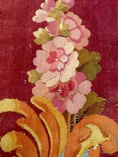 PRECIOUS 18THC FRENCH AUBUSSON TAPESTRY BORDER FRAGMENT RARE COLORING 70x38 CM